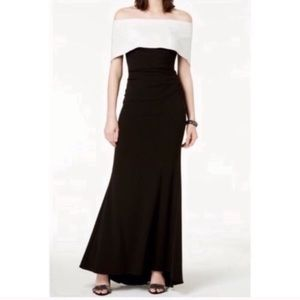 Vince Camuto Off the Shoulder Black & White Gown